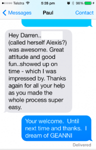 Testimonial from Paul for Alexis Topless Waitress Port Stephens